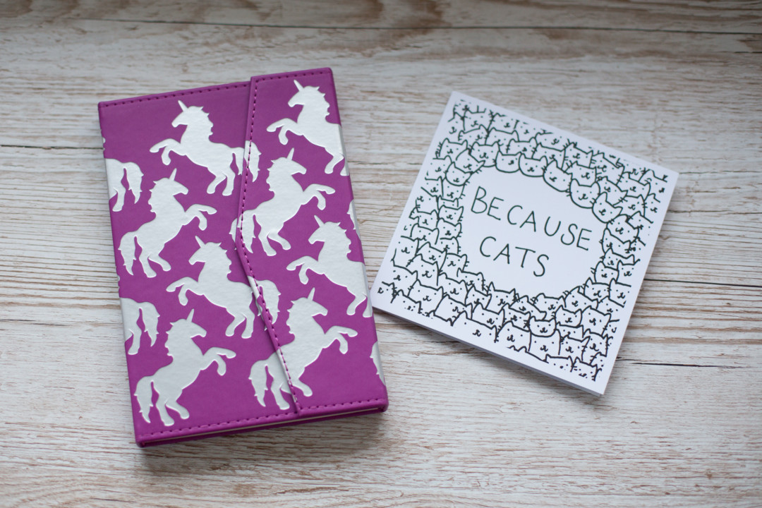 Postbox - Unicorn notebook and Because Cats card | carlalouise.com